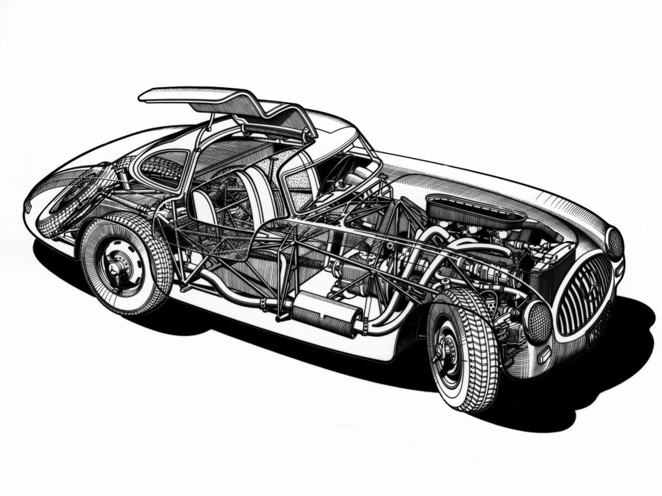 1952 Mercedes Benz 300SL W194 supercar supercars retro interior engine engines wallpaper