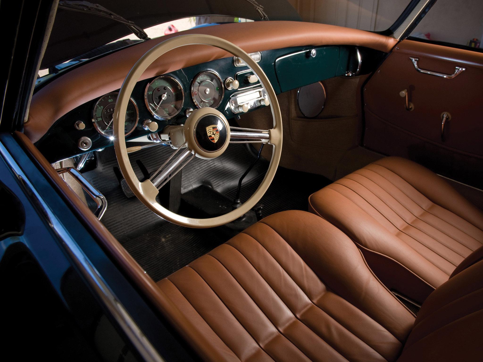 1955 Porsche 356 A Coupe Retro Interior Wallpaper