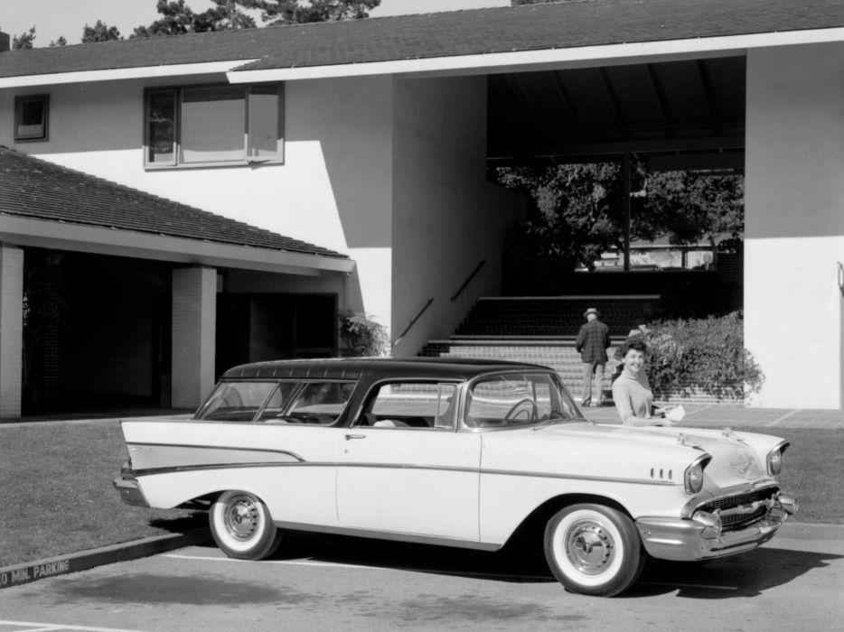 1957 Chevrolet Bel Air Nomad stationwagon retro f wallpaper