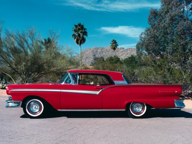 1957 Ford Fairlane 500 Skyliner Retractable Hardtop convertible retro f wallpaper