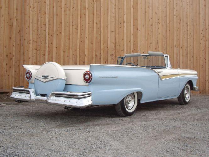 1957 Ford Fairlane 500 Skyliner Retractable Hardtop convertible retro q wallpaper