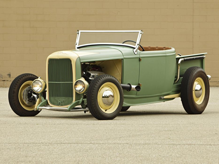 1932 Ford Roadster Pickup truck retro hot rod rods engine engines       hr wallpaper