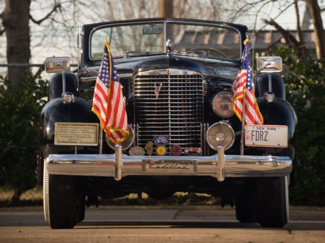 1938 Cadillac V16 Presidential Convertible Limousine retro luxury flag flags f wallpaper