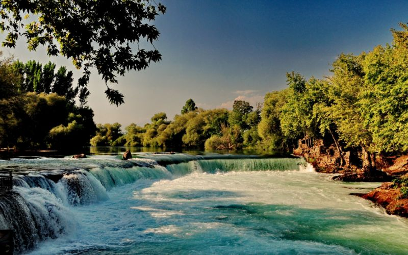 river_waterfall_forest_nature wallpaper