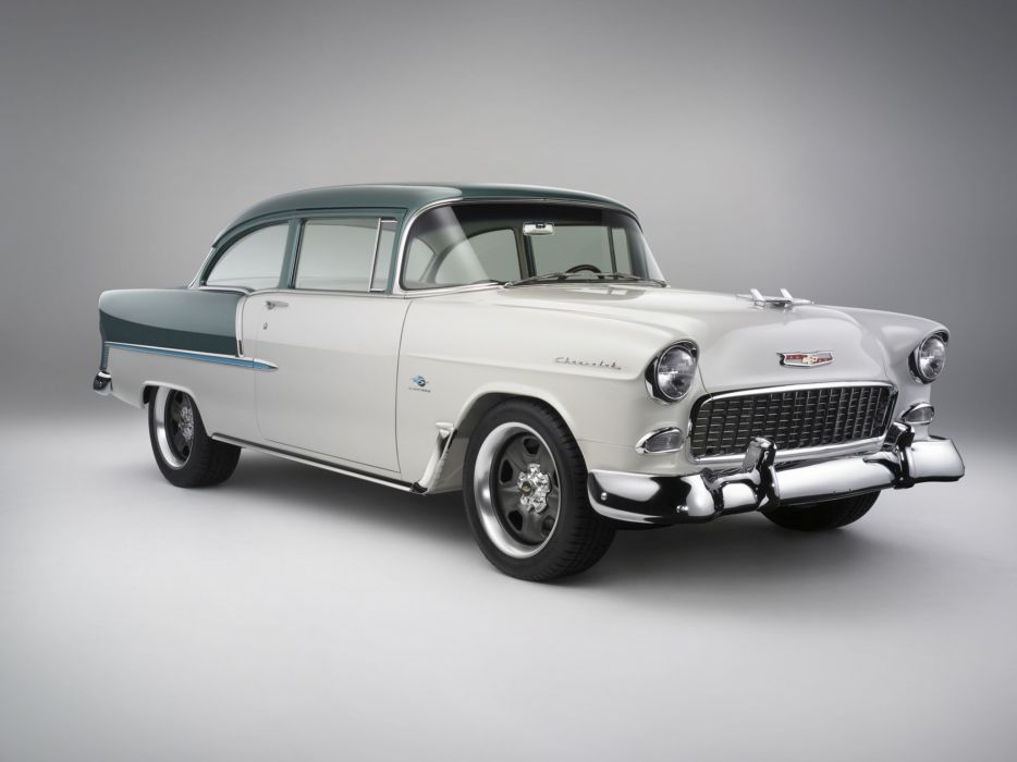 1955 Chevrolet Bel Air coupe retro muscle hot rod rods wallpaper