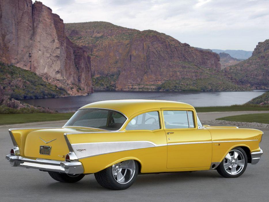 1957 Chevrolet Bel Air retro muscle hot rod rods   f wallpaper