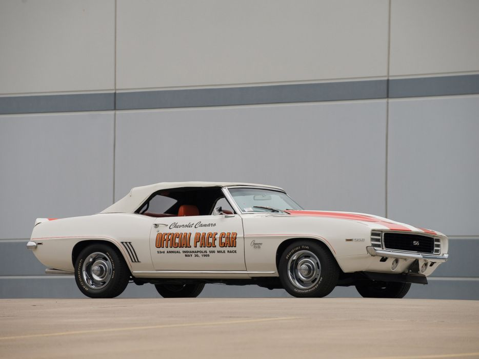 1969 Chevrolet Camaro S-S Convertible Indy 500 Pace classic muscle race racing   d wallpaper