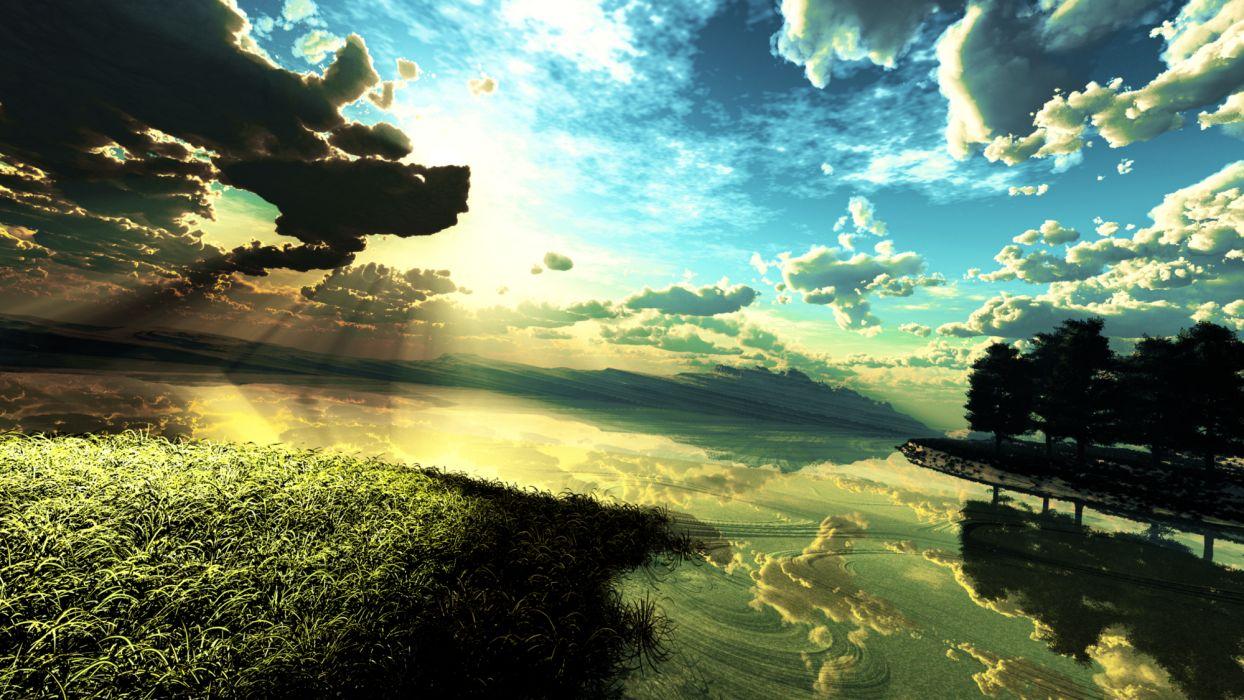 3d clouds grass landscape original scenic sky tree water y-k reflection bokeh wallpaper