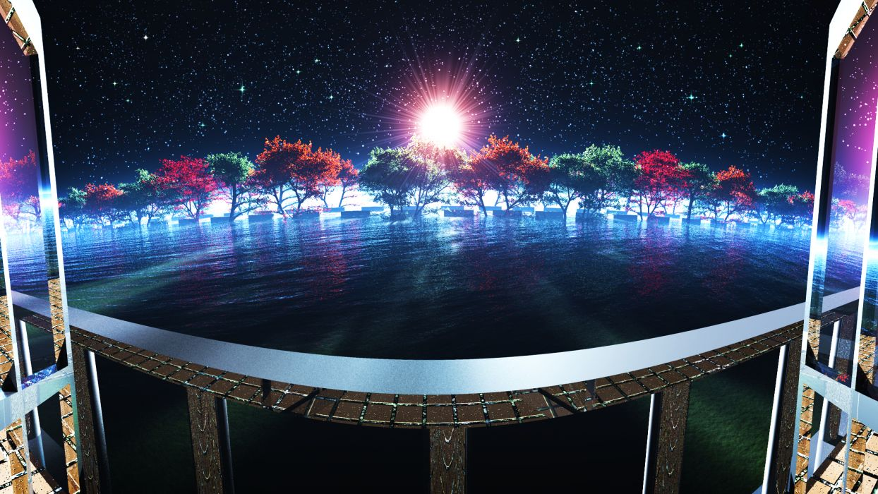 3d original scenic sky stars tree water y-k wallpaper