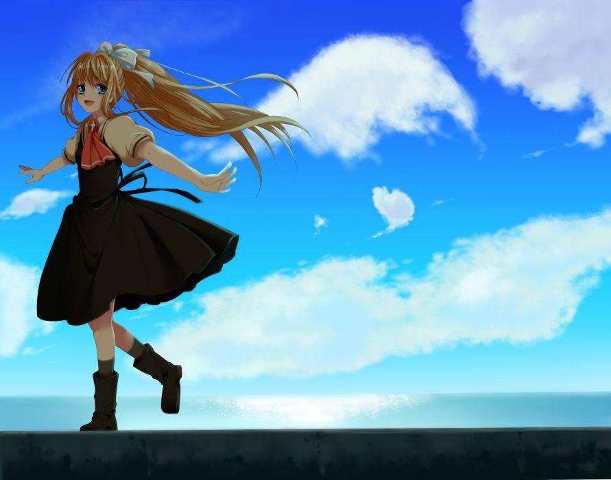 air blonde hair blue eyes boots bow clouds kamio misuzu ponytail restaint seifuku sky socks wallpaper