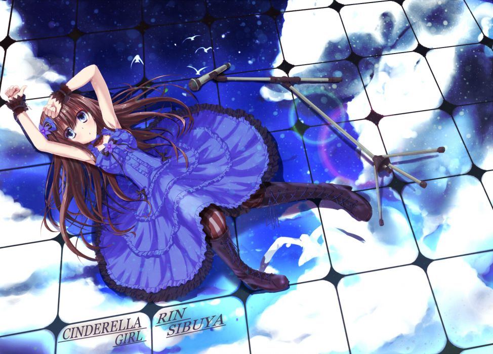 azican blue eyes boots bow brown hair dress cinderella girls long hair microphone shibuya rin wallpaper