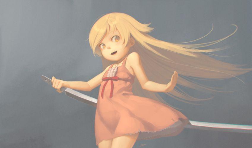 bakemonogatari alkemanubis blonde hair monogatari oshino shinobu sword weapon yellow eyes wallpaper