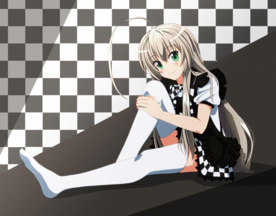 haiyore! nyaruko-san gray hair green eyes nyaruko thighhighs wallpaper