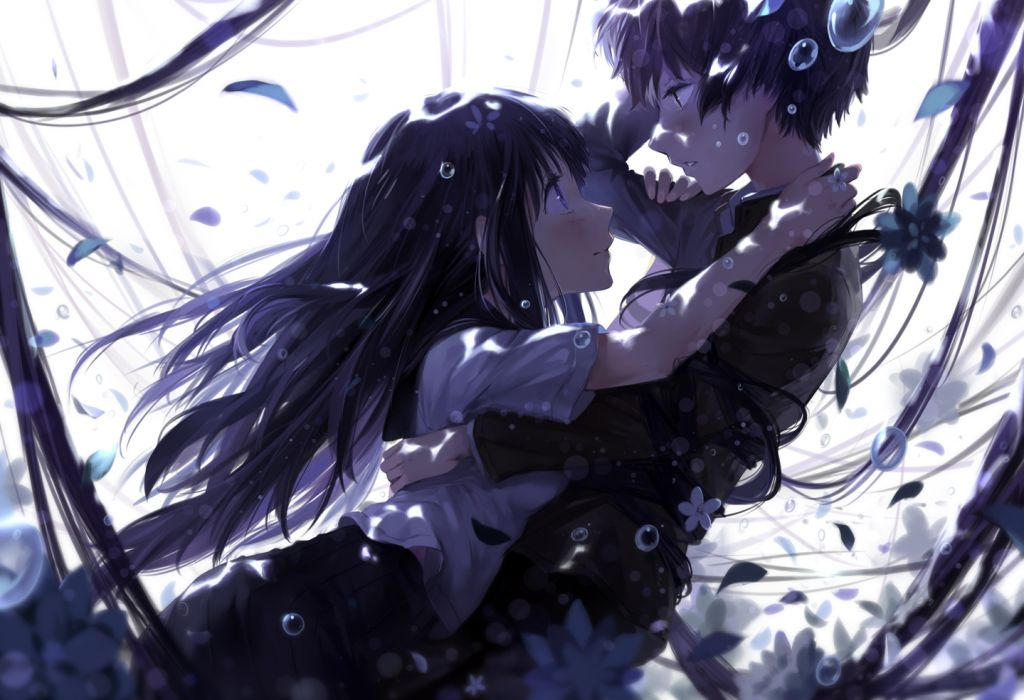 hyouka black hair bubbles chitanda eru cici flowers hyouka long hair oreki houtarou petals tagme wallpaper