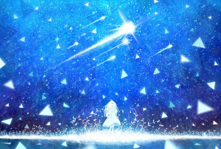 original blue bou nin dress grass original sky stars water white hair wallpaper