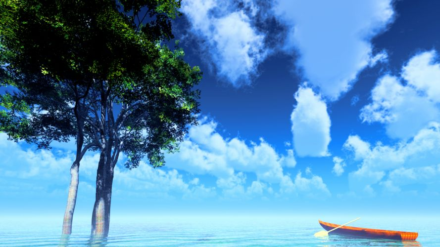 original boat clouds original scenic sky summer tree water y-k wallpaper