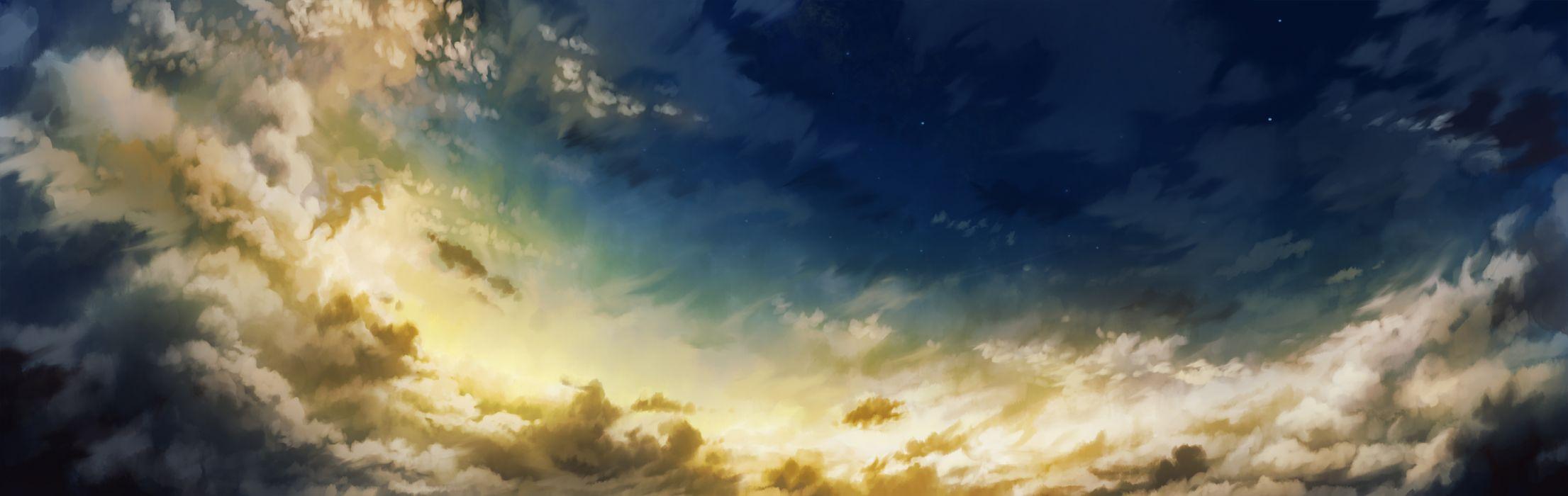 original clouds dualscreen hatsuga (dmaigmai) original scenic sky stars wallpaper