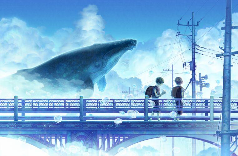 original clouds hekoheko original scenic seifuku sky summer wallpaper