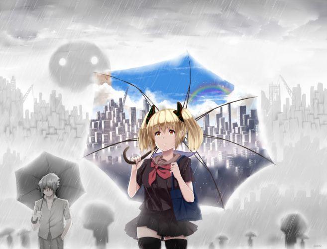 original clouds hewsack original rain seifuku sky umbrella wallpaper