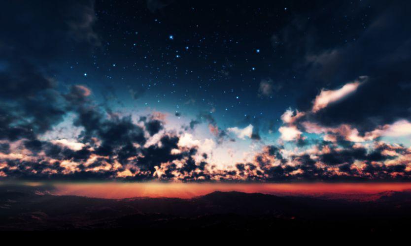original clouds landscape night original scenic sky stars sunset y-k wallpaper