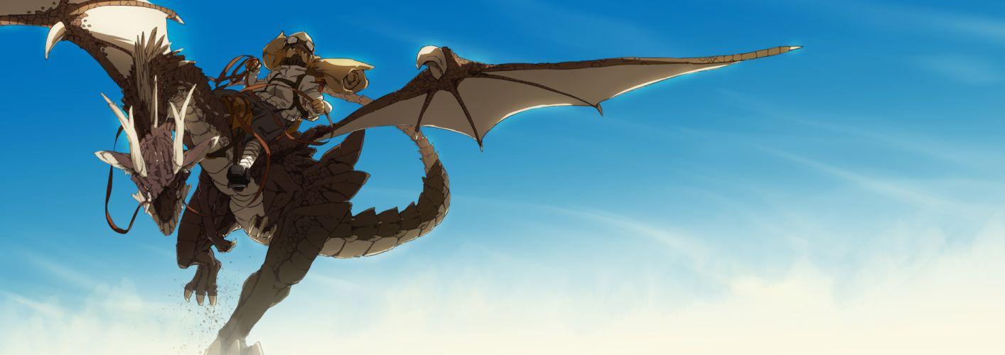 original dragon dualscreen goggles hatsuga (dmaigmai) sky fantasy dragons wallpaper