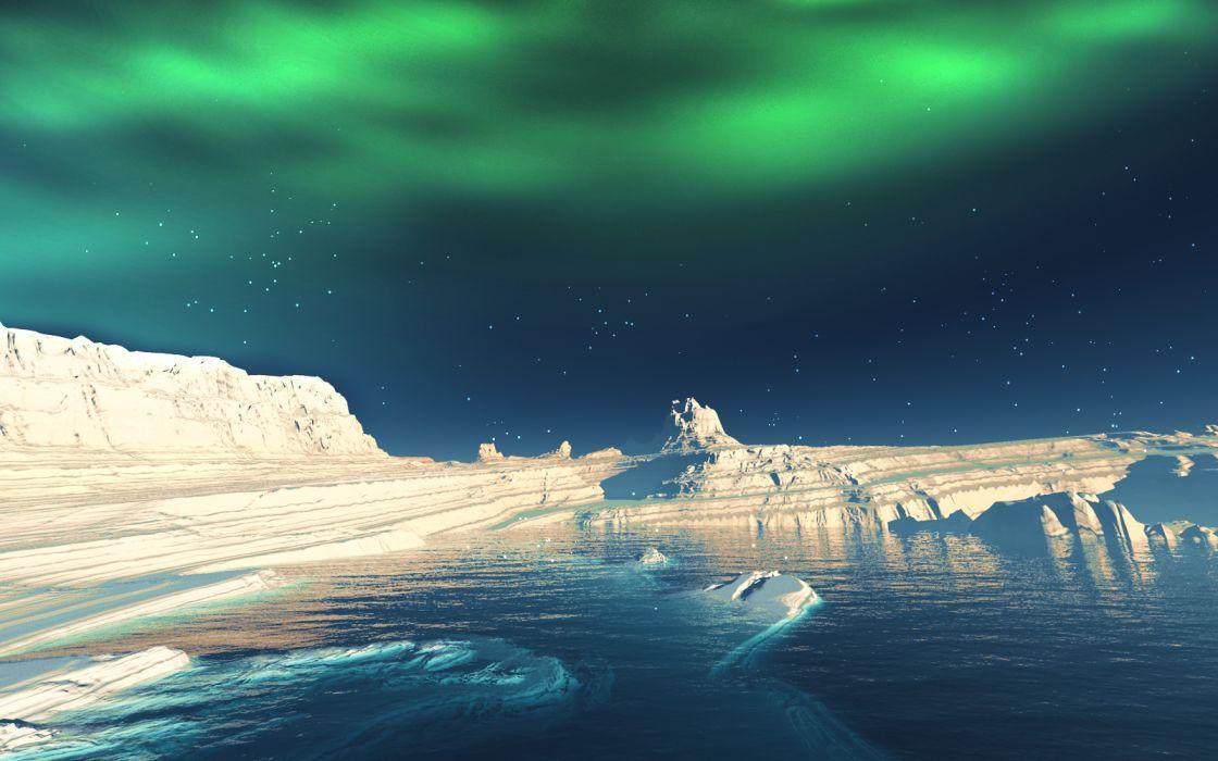 original landscape night original scenic sky snow stars water winter y-k wallpaper