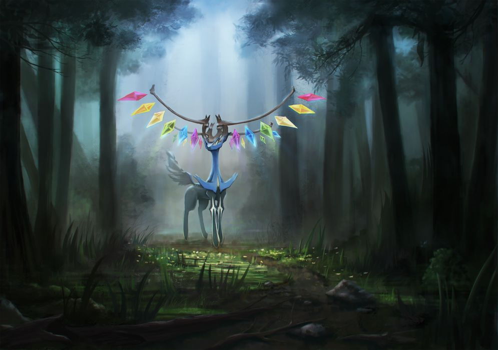 pokemon dekus flandre scarlet forest grass pokemon touhou tree wings xerneas wallpaper