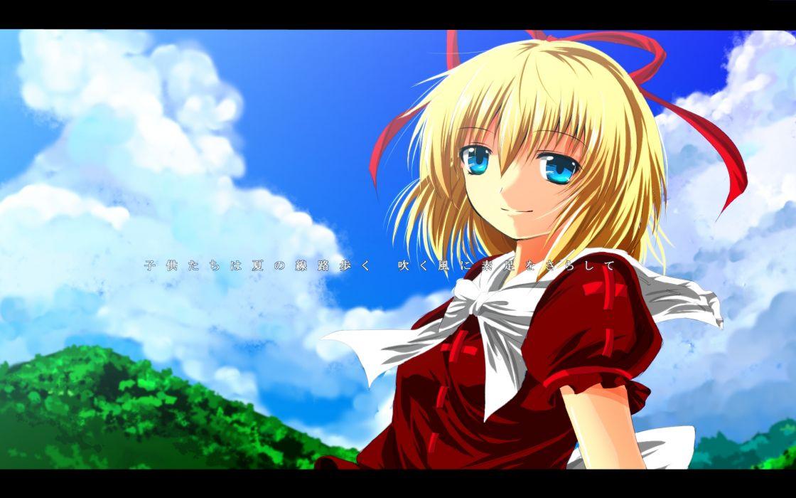 touhou blonde hair blue eyes bow clouds dress medicine melancholy nekominase ribbons sky touhou wallpaper