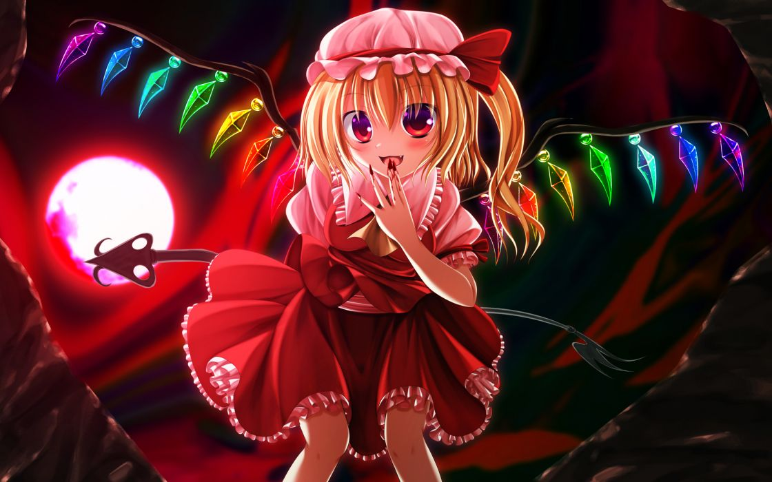 Touhou Blood Flandre Scarlet Hatomura Moon Wallpaper