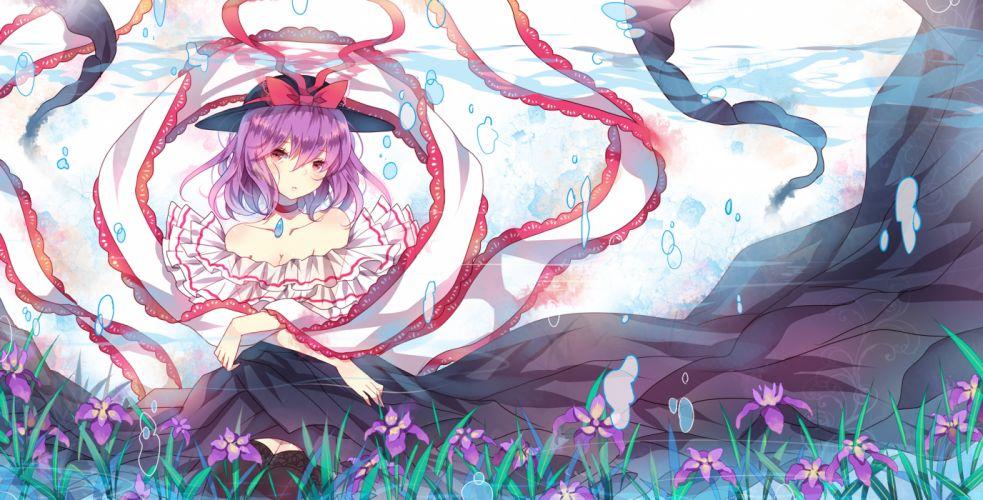 touhou bubbles domotolain flowers hat nagae iku purple hair red eyes touhou underwater wallpaper