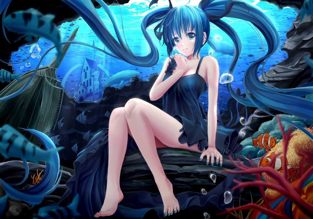 vocaloid animal barefoot blue hair deep-sea girl dress fish hatsune miku long hair rayxray twintails underwater vocaloid wallpaper
