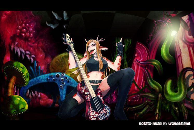 vocaloid blonde hair gloves guitar horns instrument magane rin shinichi tahara tattoo thighhighs vocaloid heavy metal dark wallpaper