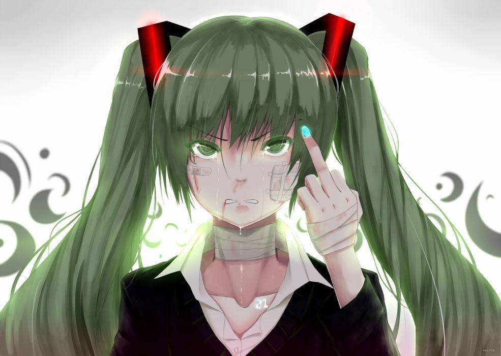 vocaloid green hair hatsune miku hewsack rolling girl twintails vocaloid sadic finger wallpaper
