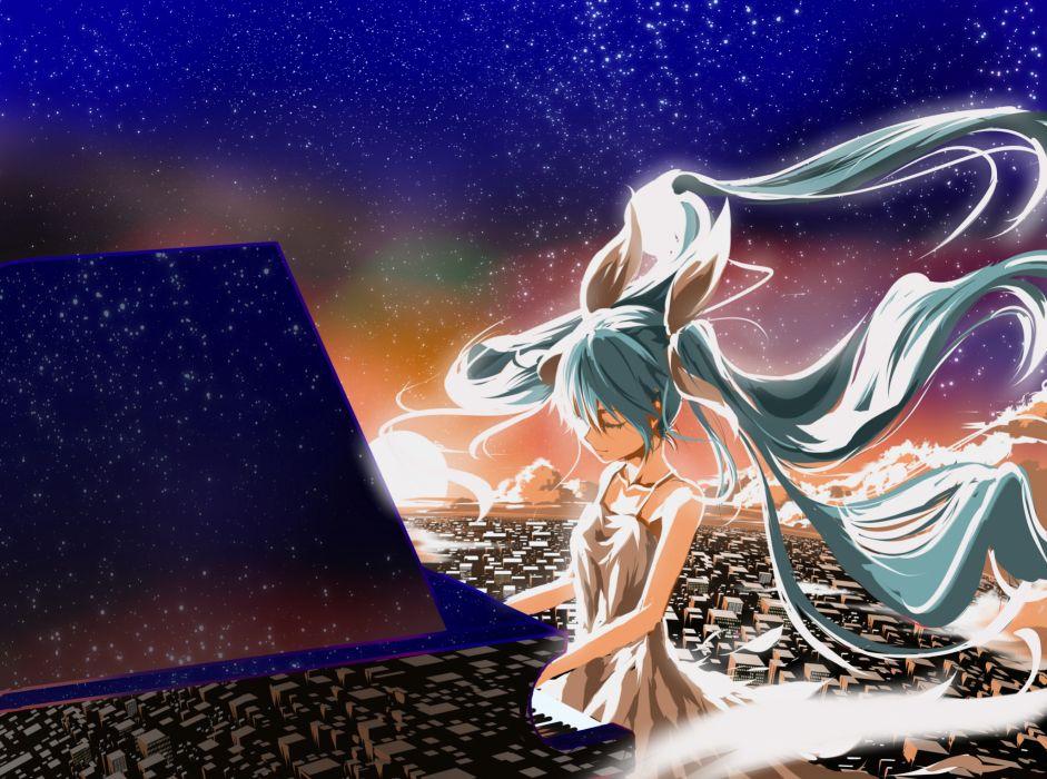 Vocaloid Hatsune Miku reflection stars piano music bokeh wallpaper
