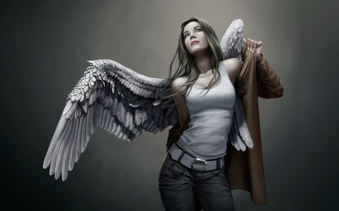 Angels Wings Singlet Jeans Fantasy Girls urban girl brunette mood wallpaper