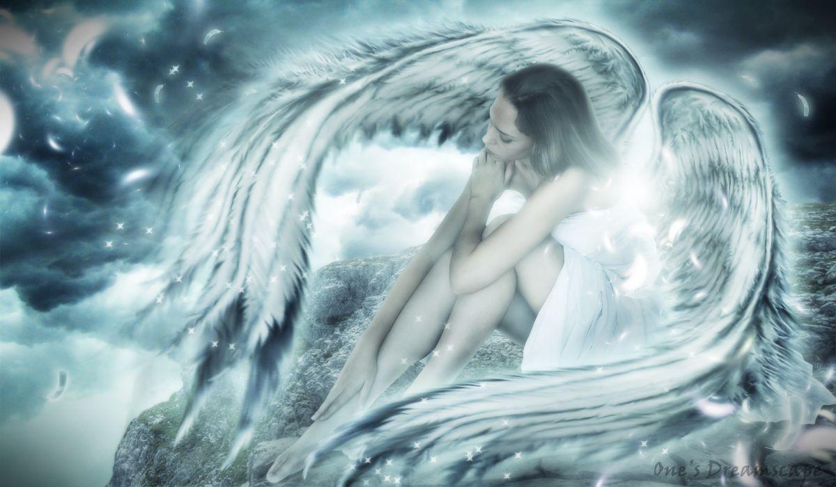 Angels Wings Fantasy Girls angel girl women magical wallpaper