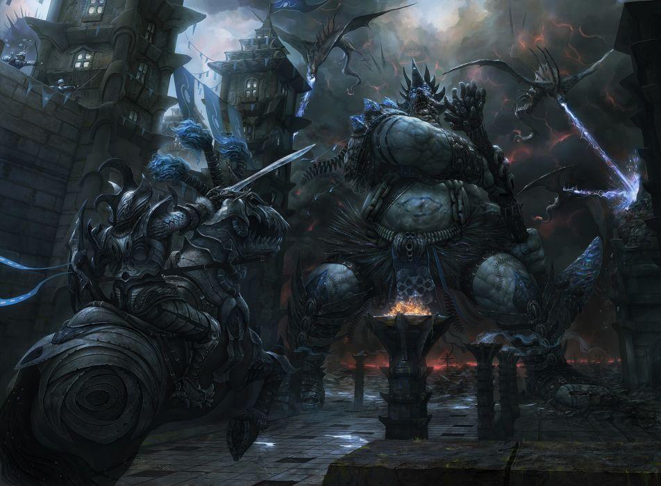Battles Monsters Warriors Armor Fantasy warrior battle monster wallpaper