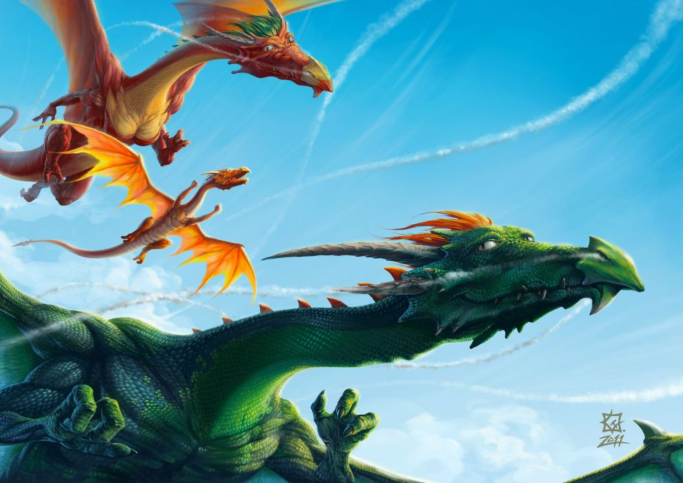 Dragons Flight Fantasy dragon wallpaper