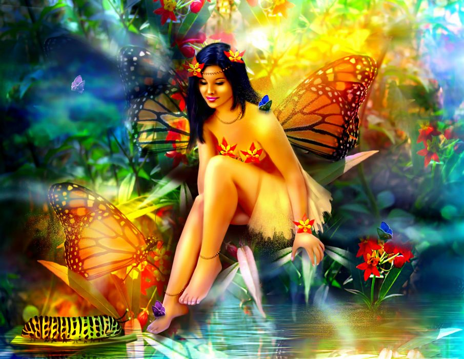 Fairies Fantasy Girls fairy butterfly forest magical wallpaper