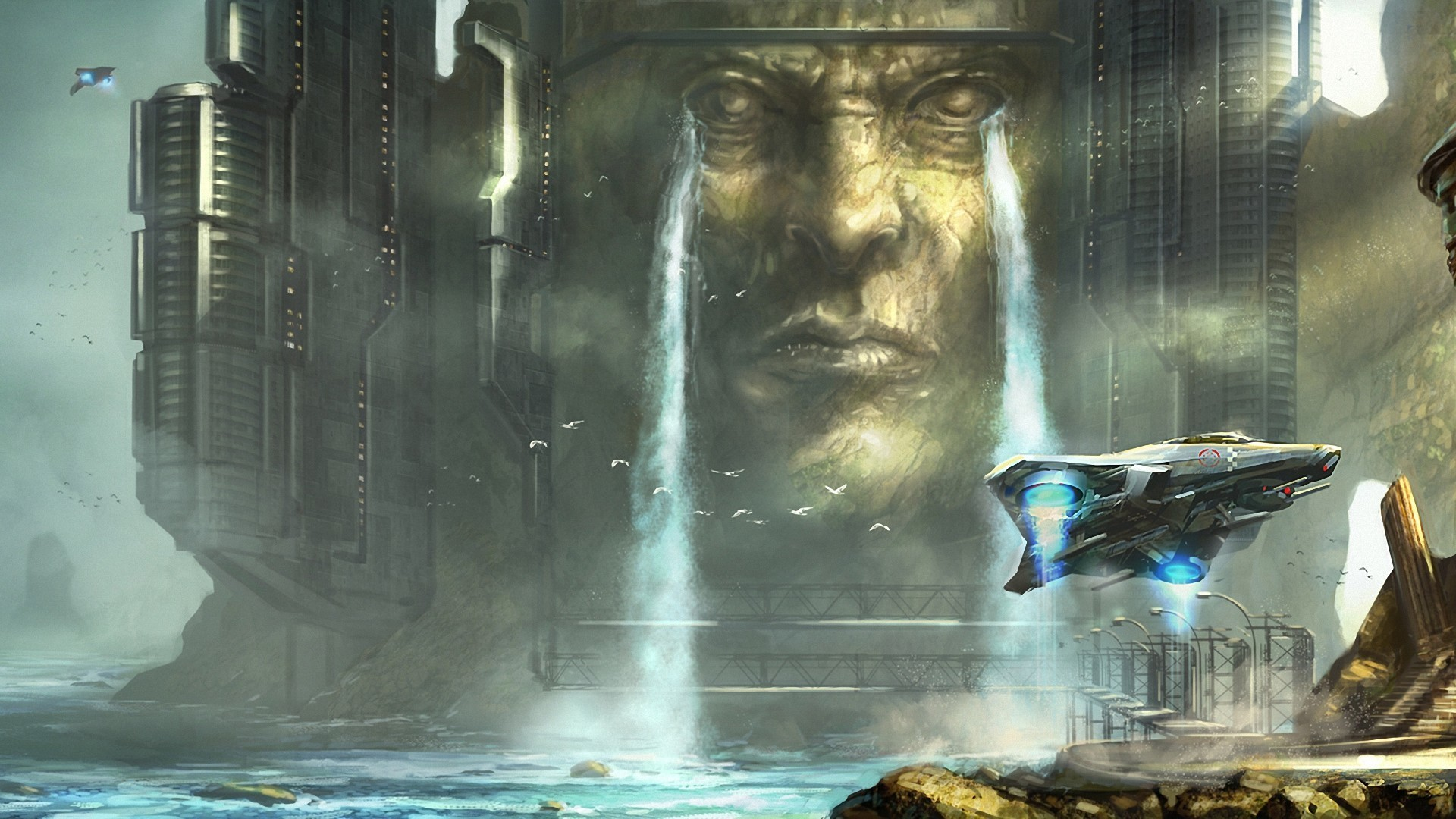 World Wallpaper Sci Fi Wallpaper: Fantastic World Ships Waterfalls Fantasy Sci-fi Science