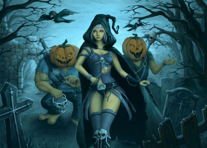 Gothic Halloween Fantasy Girls dark pumpkin cemetery skull skulls wallpaper