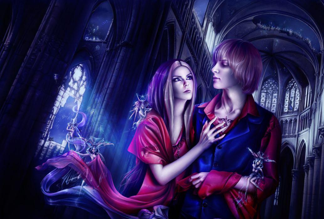 Love Men Fantasy Girls fairy castle wallpaper