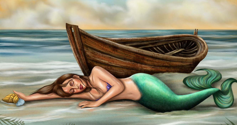Mermaid Painting Art Boats Fantasy wallpaper