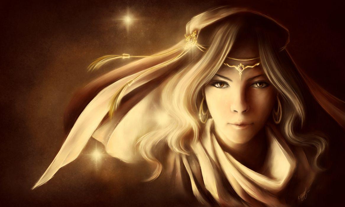 Painting Art Face Girls Fantasy girl women blonde wallpaper