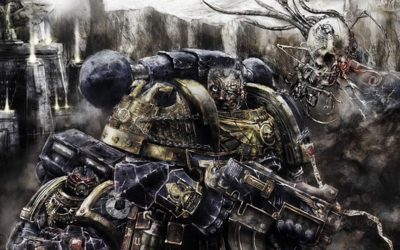 Warhammer 40000 Warriors Armor Games Fantasy warrior sci-fi weapons weapons gun dark skull skulls wallpaper