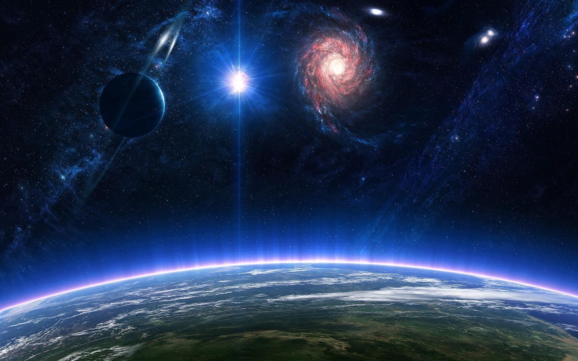 Planet planets stars nebula galaxy atmosphere space ...