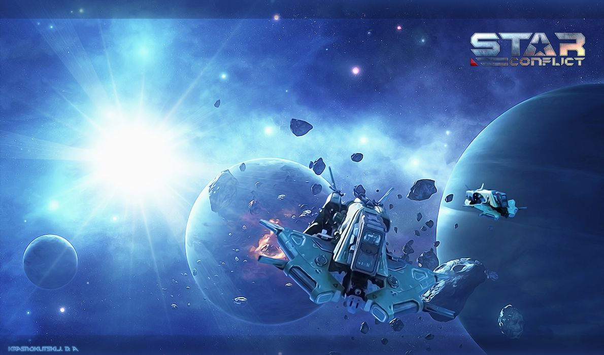 Star Confict sci-fi spaceship spacecraft space planet planets explosion wallpaper