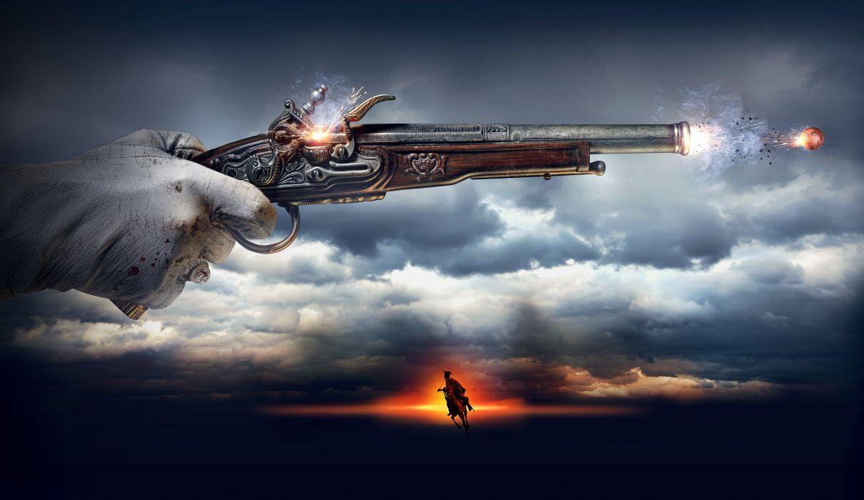 The Ballad of Uhlans Firing Clouds Movies weapons weapon gun guns pistol wallpaper