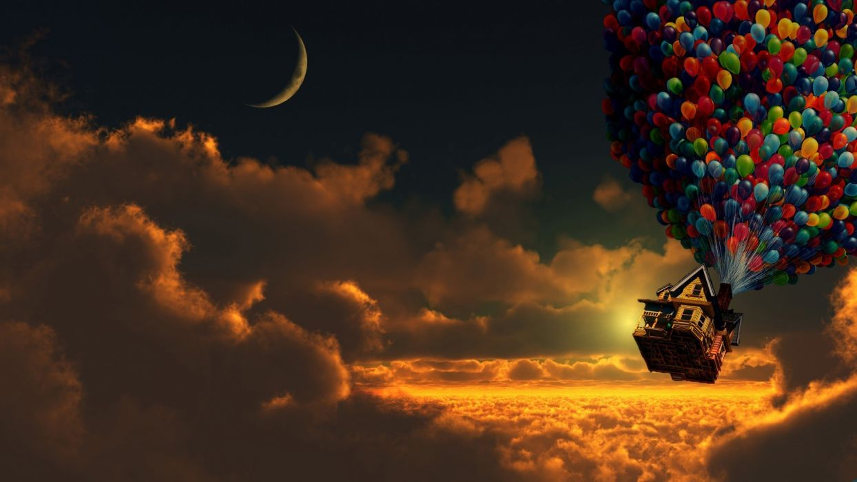 UP u-p movies fantasy balloons flight clouds sky magic houses wallpaper