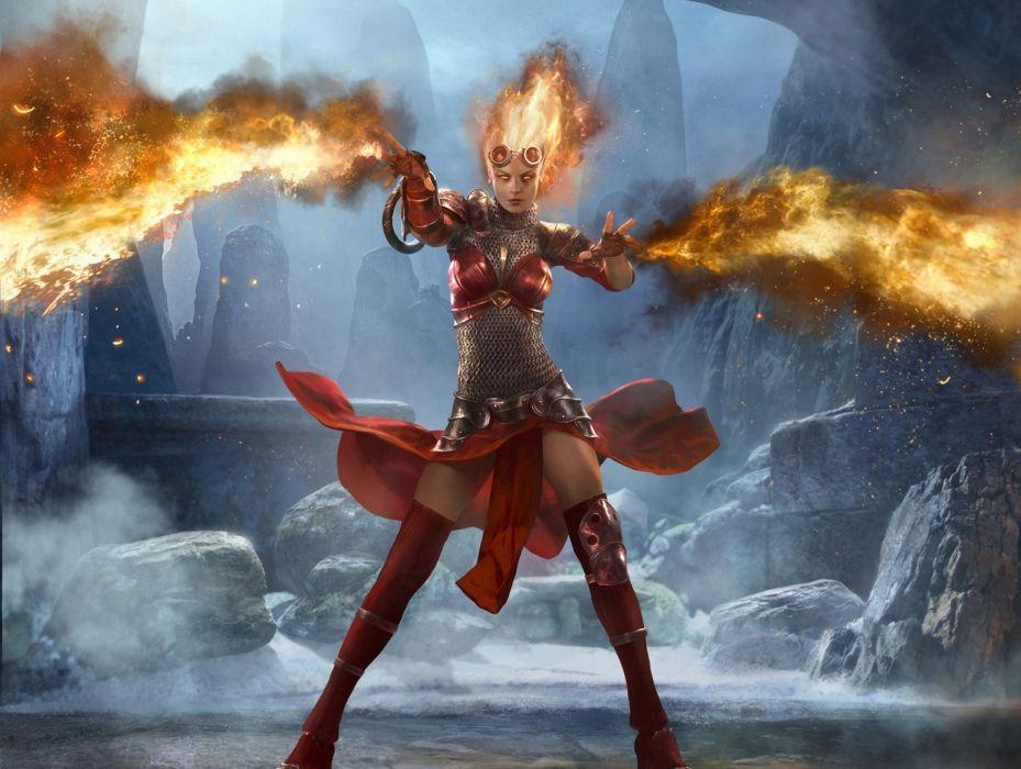 Magic The Gathering Fire Armor Games Girls girl magic fire fantasy wallpaper